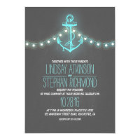 turquoise nautical chalkboard anchor wedding invitation