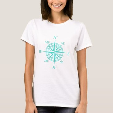 Beach Themed Turquoise Nautical Compass Rose T-Shirt