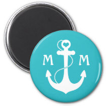 Turquoise Nautical Heart Anchor Magnet