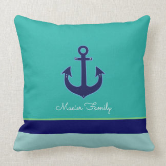 turquoise nautical, striped with anchor, custom throw pillow