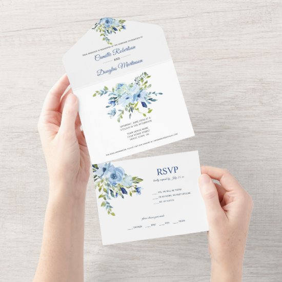 Turquoise & Navy Blue Watercolor Floral    All In One Invitation