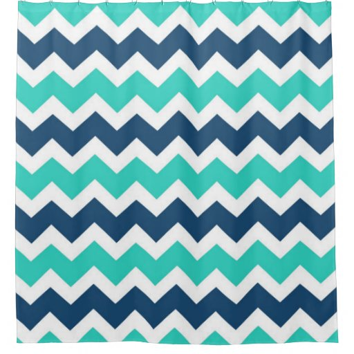 turquoise navy chevron stripes shower curtain zazzle