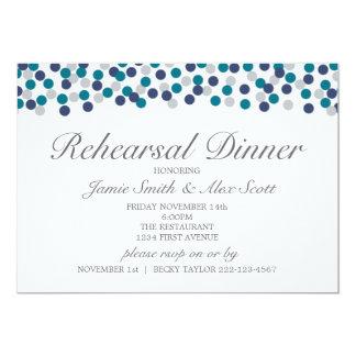 Turquoise Navy Gray Polka Dot Rehearsal Dinner Card