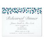 Turquoise Navy Gray Polka Dot Rehearsal Dinner 5x7 Paper Invitation Card