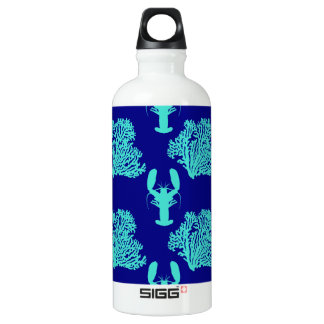 Turquoise Navy Lobster Coastal Pattern Aluminum Water Bottle