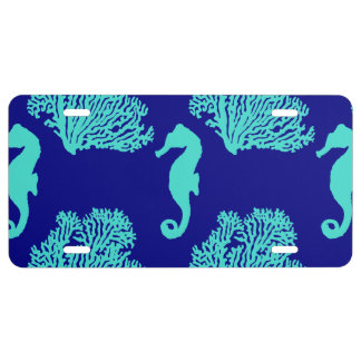 Turquoise Navy Seahorse Coastal Pattern License Plate