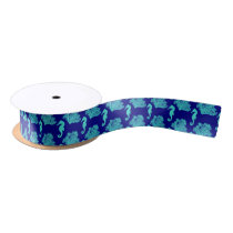 Turquoise Navy Seahorse Coastal Pattern Satin Ribbon