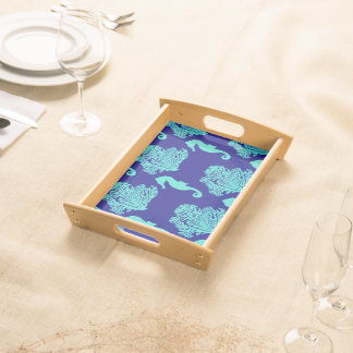 Turquoise Navy Seahorse Coastal Pattern Serving Tray
