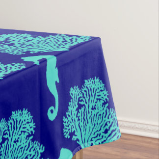 Turquoise Navy Seahorse Coastal Pattern Tablecloth
