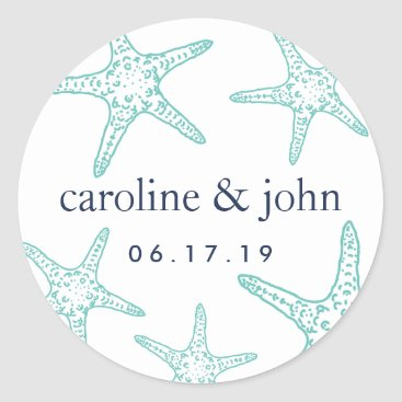 Beach Themed Turquoise & Navy Starfish Personalized Wedding Classic Round Sticker