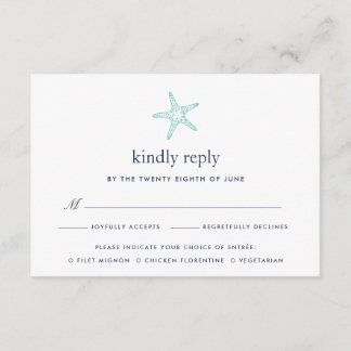 Turquoise & Navy Starfish RSVP Card w/ Meal Choice