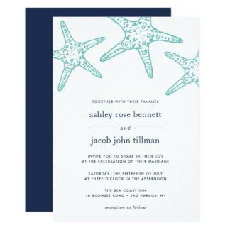 Turquoise & Navy Starfish Wedding Invitation