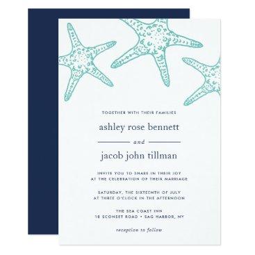 Beach Themed Turquoise & Navy Starfish Wedding Invitation