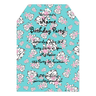Turquoise nerd cow pattern 5x7 paper invitation card