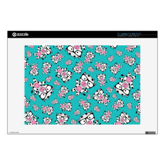 Turquoise nerd cow pattern decals for laptops