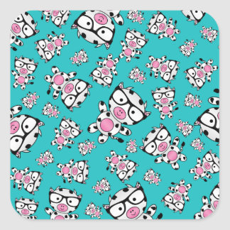 Turquoise nerd cow pattern stickers