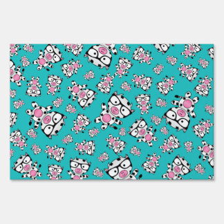 Turquoise nerd cow pattern lawn signs
