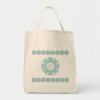 Turquoise Nexus Cotton Grocery Tote Bag