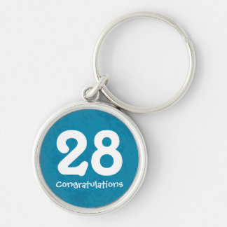 Turquoise Numbered Anniversary Keychain