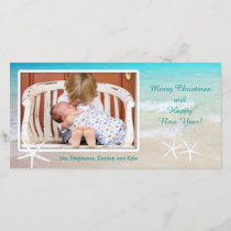 Turquoise Ocean Beach Christmas Photo Card