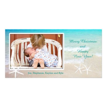 Beach Themed Turquoise Ocean Beach Christmas Photo Card