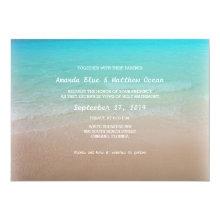 Turquoise Ocean Horizontal Wedding Invitations