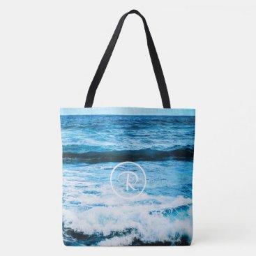 Beach Themed Turquoise ocean photo custom monogram tote bag