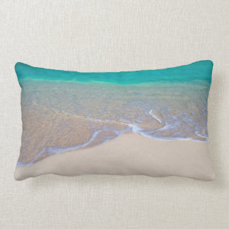 Turquoise Ocean Wave Over The Sand Lumbar Pillow