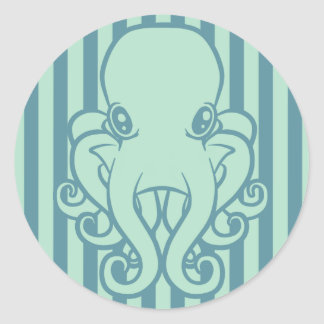 Turquoise Octopus Classic Round Sticker
