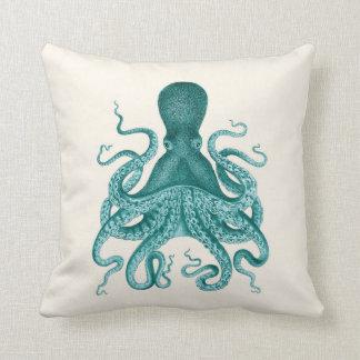 Turquoise Octopus Illustration on Cream Throw Pillow