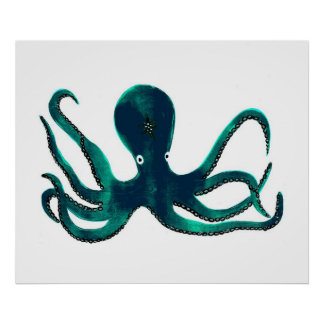 Turquoise Octopus Poster