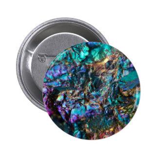 Turquoise Oil Slick Quartz Pinback Button