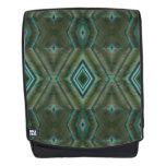 Turquoise Olive Green Diamond Geometric Backpack