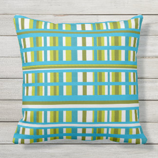 Turquoise, Olive & Lime Green Plaid Throw Pillow