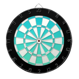 Turquoise Ombre Black And White Dartboard
