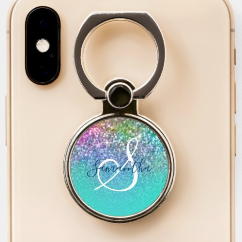 Turquoise Ombre Colorful Mermaid Glitter Monogram Phone Case