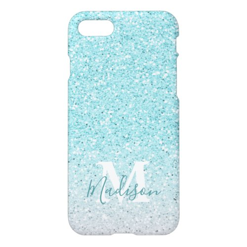 Turquoise Ombre Faux Glitter Monogram Name Phone Case