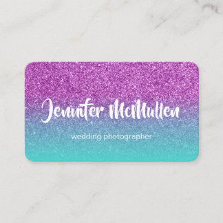 Turquoise Ombre Purple Glitter Photo Business Card