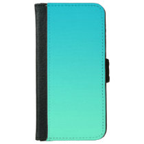"""Turquoise Ombre"" Wallet Phone Case For iPhone 6/6s"