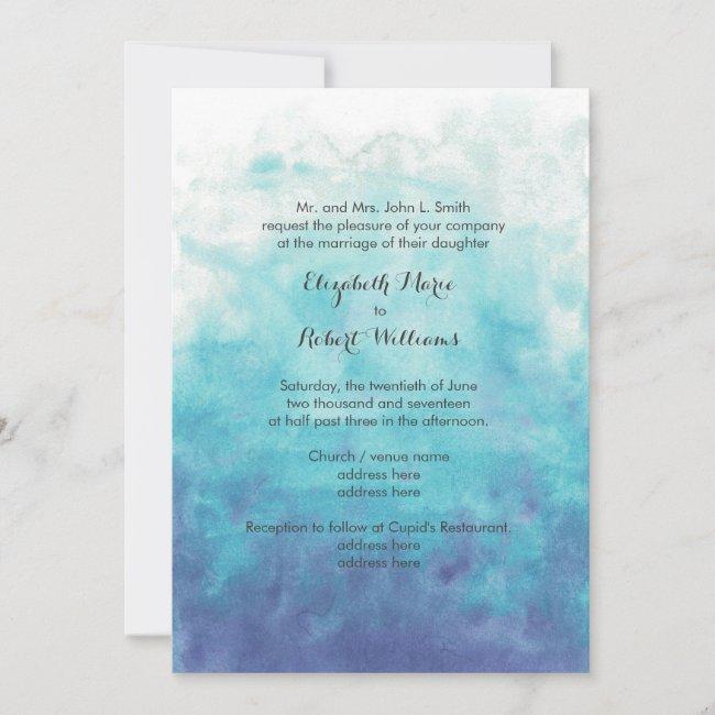 Turquoise Ombre Watercolor Wedding Invitation