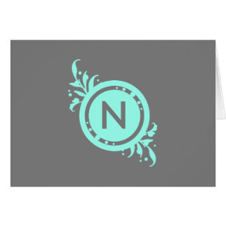 Turquoise on Grey Floral Monogram Card