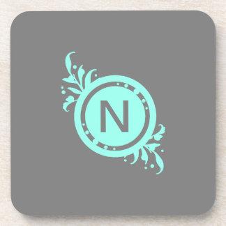 Turquoise on Grey Floral Monogram Coaster