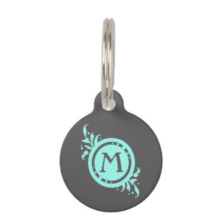 Turquoise on Grey Floral Monogram Pet Name Tag