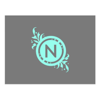 Turquoise on Grey Floral Monogram Postcard