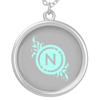 Turquoise on Grey Floral Monogram Silver Plated Necklace