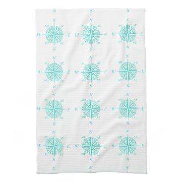 Beach Themed Turquoise On White Coastal Decor Compass Rose Kitchen Towel