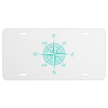 Beach Themed Turquoise On White Coastal Decor Compass Rose License Plate