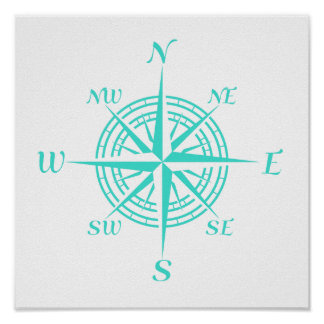 Turquoise On White Coastal Decor Compass Rose Poster