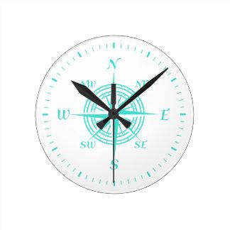 Turquoise On White Coastal Decor Compass Rose Round Clock