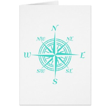 Beach Themed Turquoise On White Compass Rose Card